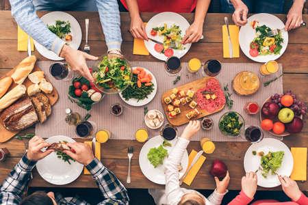 The whole family eats healthy food Stock Photo