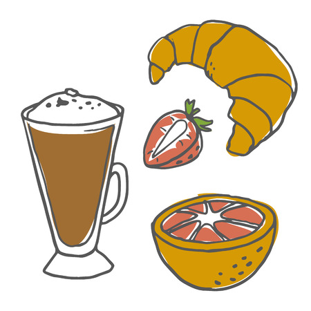 Retro vector illustration of breakfast coffee croissant strawberry and orange