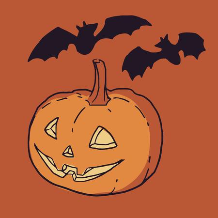 Halloween vector JackoLantern with bats silhouettes Illustration