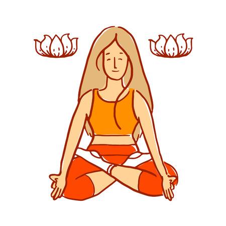 d�tente: Lotus fille pose de yoga m�ditation et la relaxation