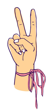 Peace and victory hand symbol