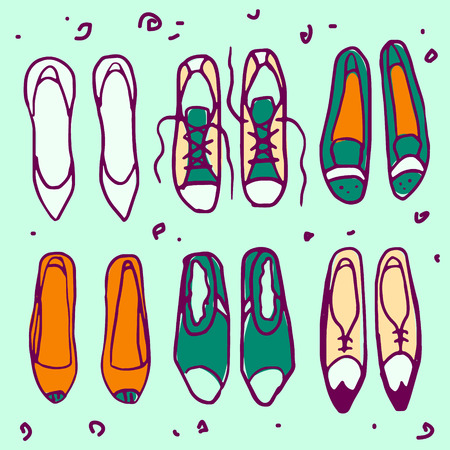 Retro shoes vector pattern set on a teal background