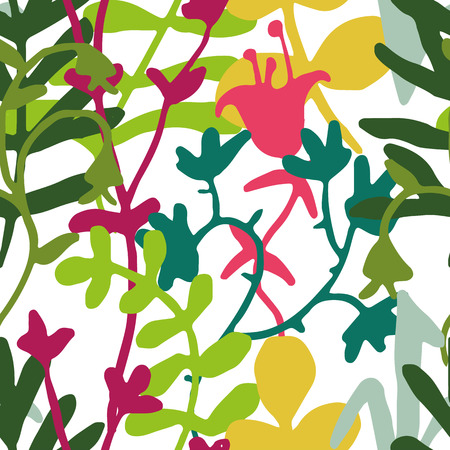 tundra: Vector Pattern in Green, Yellow and Magenta on White