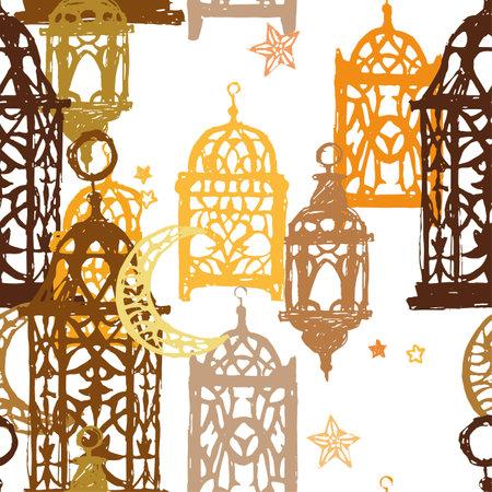 Traditional hanging islamic lanterns on white