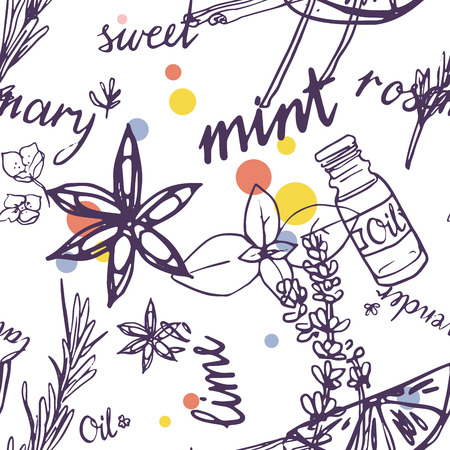Aromatherapy and essential oils seamless pattern on white Illustration