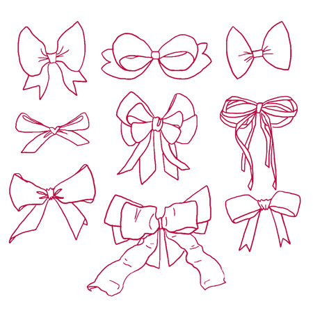 Collection of beautiful hand drawn contour magenta bows and ribbons in vector