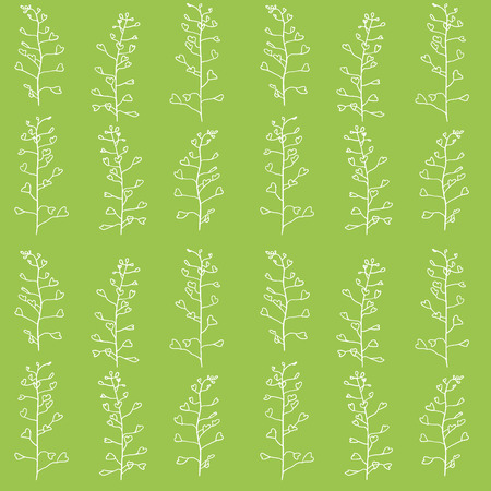 Green field summer seamless pattern with white contours Ilustrace