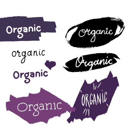 Organic labels with calligraphy and logos on hand drawn shapes. Vector Illustration