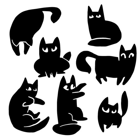 endearing: Pet cat cartoon silhouettes vector set with large expressive eyes Illustration