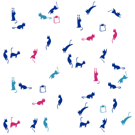 Seamless vector pattern of blue and magenta playful cat silhouettes on white