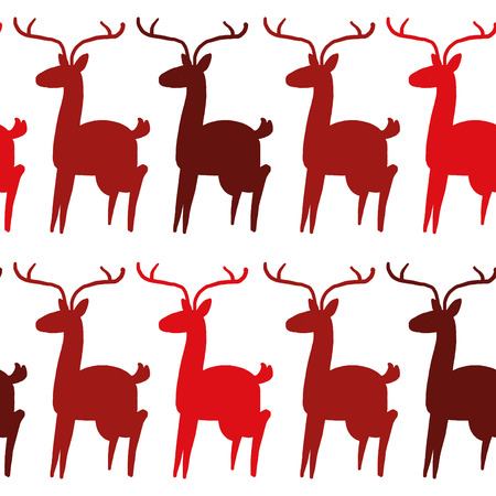 Seamless red deer silhouettes pattern