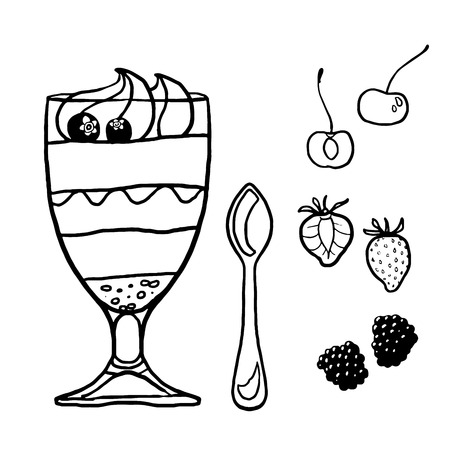Dessert in a glass contour illustration with various toppings