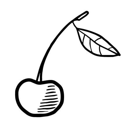Cherry linocut-like vector drawing icon