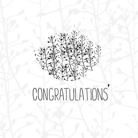 White greeting card template with Congratulations lettering