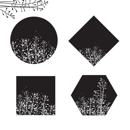 Floral forms white silhouette design elements set on solid shapes