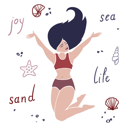 Happy smiling young body-positive girl at the beach vector Illustration