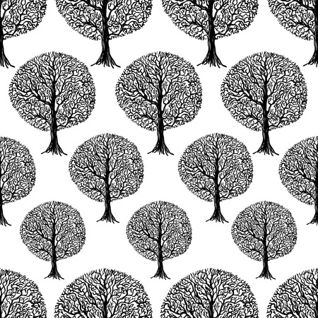 abstract wallpaper: Vector seamless texture of the tree. Illustration