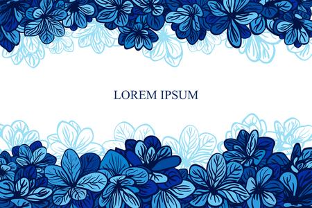 Card with blue flowers. Wedding invitation