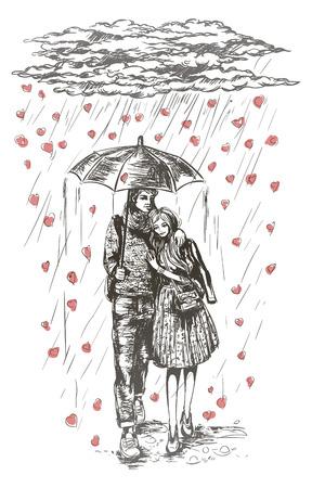 joven pareja bajo el paraguas bajo la lluvia