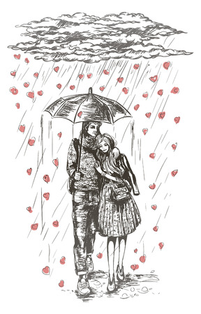 Young couple under umbrella in the rain