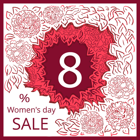 sell out: Vector headers for International Womens Day Sale or Special Offer with creative background. Illustration