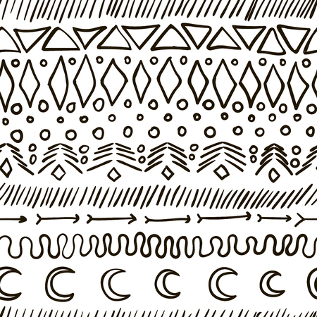 tile pattern: Seamless vector geometric tribal texture. Vintage ethnic seamless backdrop. Vintage fashion style pattern with tribal shape elements.