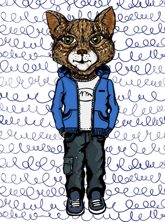 eyed: Vector cat wearing casual clothes on doodle pattern. Hipster animals.