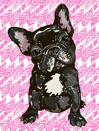 perro de raza bulldog francés Ilustración de vector