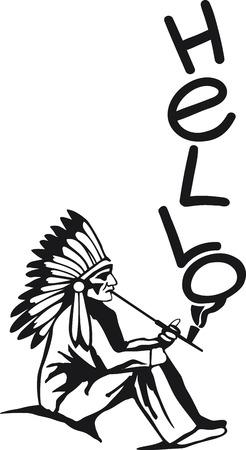 peace pipe: Native american smokes peace pipe. Hello