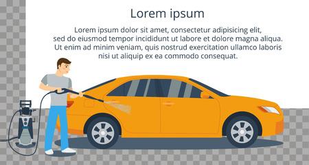 Człowiek mycia żółty samochód z myjki wysokociśnieniowej. Polewanie wodą z węża. Płaski ilustracji wektorowych stylu.
