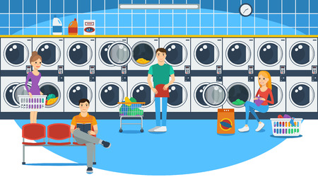 Vector illustration of people in a launderette Çizim