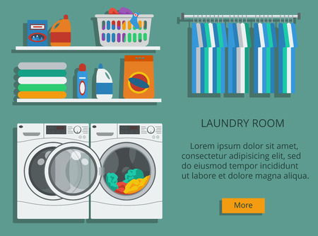 Laundry room with washing machine, facilities for washing, washing powder. Flat style vector illustration. 矢量图像
