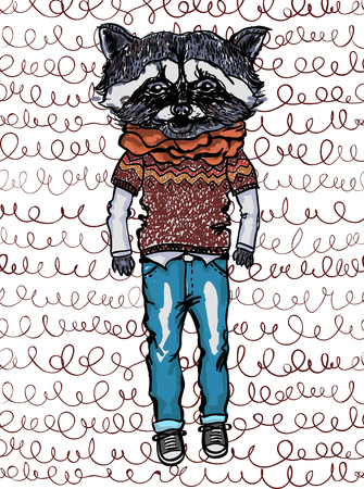Vector raccoon wearing casual clothes on doodle pattern. Hipster animals.