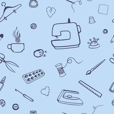 handicrafts: Vector seamless pattern with sewing and tailoring stuff. Lovely needlework. Sewing machine, scissors, sewing and other handicrafts items. Illustration