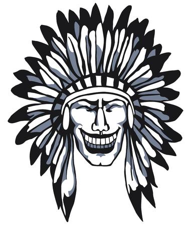 Glimlachend Apache. Native American Head. Indian.