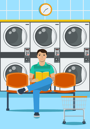 A man sits on a plastic seat, reading a book and waiting for the end of washing clothes in launderette Ilustração