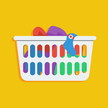icono de estilo plano de la cesta de lavadero con ropa sucia