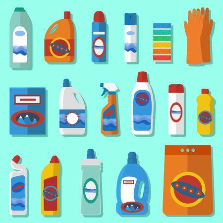 Gruppe von Flaschen Haushaltschemikalien. Einfache flache Ikonen. Haushaltsbedarf und Reinigung Flach Symbole gesetzt. Flache Design-Konzepte für Web-Banner, Webseiten, Drucksachen, Infografiken