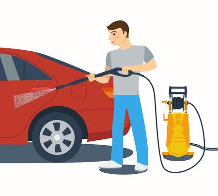 machine à laver: Man laver une voiture rouge avec nettoyeur haute pression. Pulvériser de l'eau du tuyau.