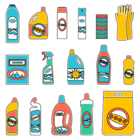 balsam: Household supplies and cleaning flat icons set. Flat design concepts for web banners, web sites, printed materials, infographics