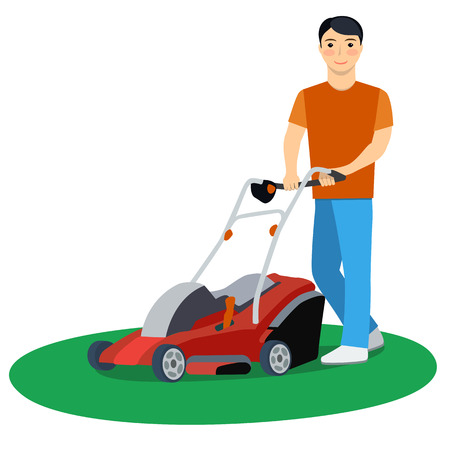 grass cutting: Modern character - young attractive man cutting grass with lawn mower, friendly smiling. Lawnmower - stock vector illustration in flat design.