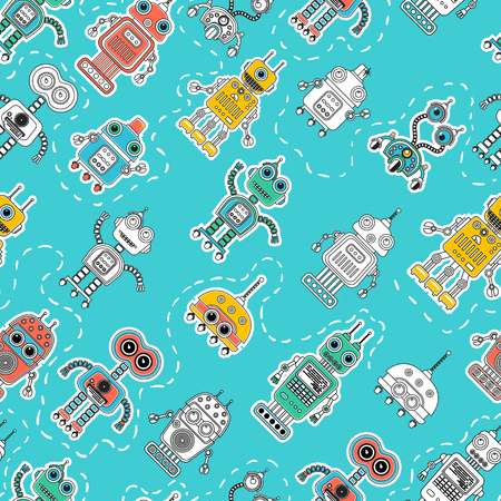 amazing wallpaper: Colorful cartoon robots seamless background. Vector seamless pattern. Amazing artistic wallpaper. Wrapping paper, textile, web page background.