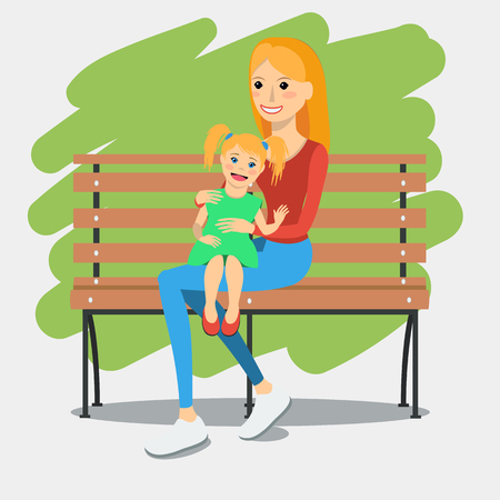 Young mother sitting on a bench with daughter. Rest and outdoor quiet time. Vector illustration.