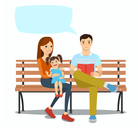 Young family sitting on a bench with daughter. Rest and outdoor quiet time. Vector illustration.