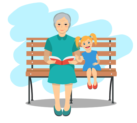 at rest: Grandma sitting on a bench with randdaughter read the book. Rest and outdoor quiet time. Vector illustration.