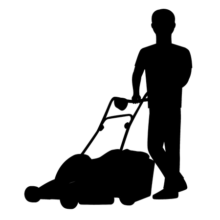 front yard: Man cutting the grass with lawn mower . Vector silhouette graphic depicting a man doing yard-work