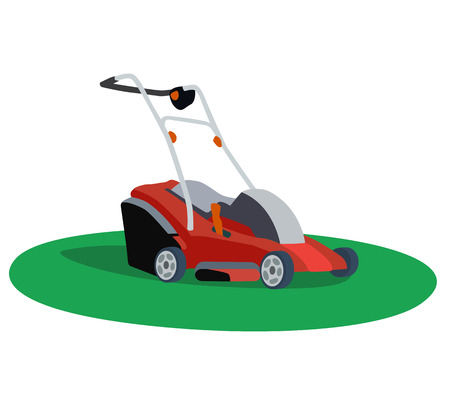 backyard work: Illustration of a lawn mower on white background Illustration