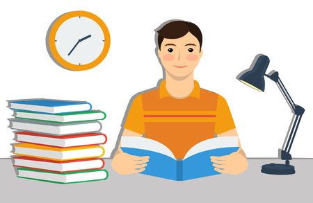 college student: Student. Stack of books, wall clock and table lamp. Flat style vector illustration.