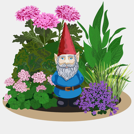 lawn gnome: illustration of a landscape gardening sculpture garden gnome in flowers