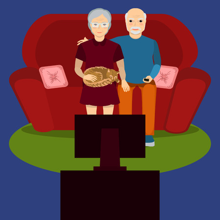 lap: Senior couple at home. Elderly people sitting on sofa together and watch TV. Grandparents or an lovely elderly couple. Cat lies on lap Illustration